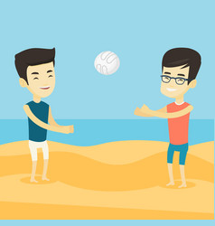 Two men playing beach volleyball vector