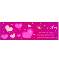 Valentines day banner with realistic 3d heart vector