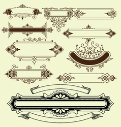 Vintage floral decorative border elements vector image