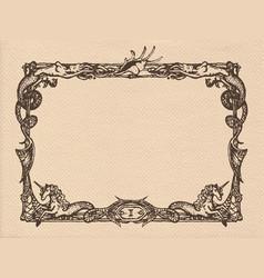 Vintage marine frame vector