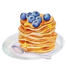 Watercolor pancakes with blueberries vector