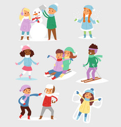 winter christmaskids playing games outdoor street vector image vector image