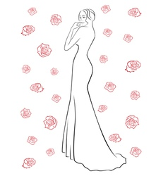 Woman in a long dress among roses vector image