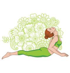 Women silhouette cobra yoga pose bhujangasana vector