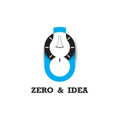 Zero number icon and light bulb abstract logo vector