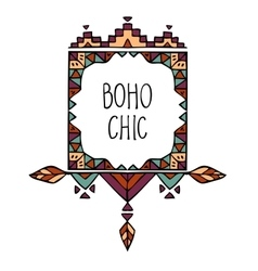 Colorful hand drawn boho style frame with text vector