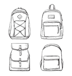 Set of different types backpacks vector