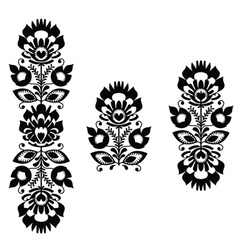 monochrome polish folk traditional pattern stripes vector image