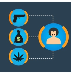 Set gangster money weapons drugs vector