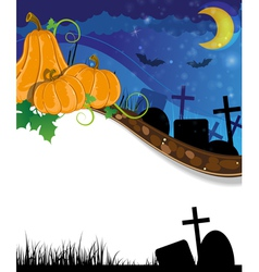 Halloween pumpkins on the cemetery vector