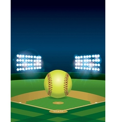 Softball on field copyspace vector