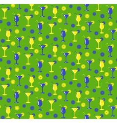 Seamless summer pattern with cocktails glasses vector