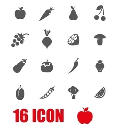 Grey fruit and vegetables icon set vector