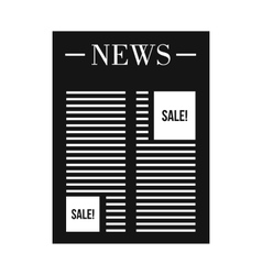 Newspaper with space for ad icon simple style vector