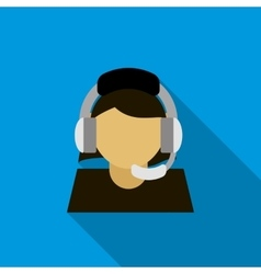 Call center operator icon flat style vector