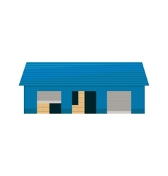 Blue storehouse building vector