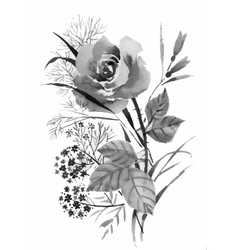 Beautiful hand-drawn monochrome flowers and herbs vector image vector image