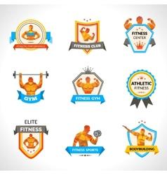 Bodybuilding emblems set vector