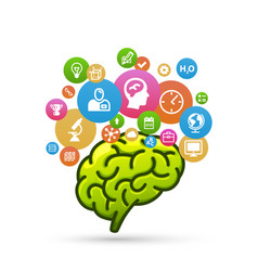 brain with lots of icons vector image vector image