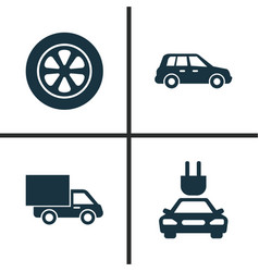 Car icons set collection of wheel plug lorry vector