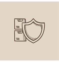 Cargo insurance sketch icon vector image