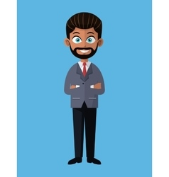 Cartoon business man bearded crossed arms elegant vector