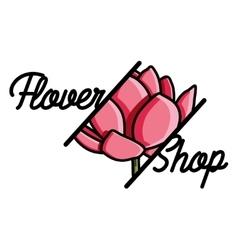 Color vintage flower shop emblem vector image vector image