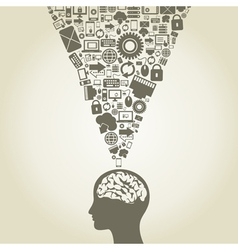 Computer a brain vector image vector image