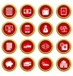 Credit icon red circle set vector