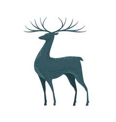 Decorative deer with horns reindeer animal vector