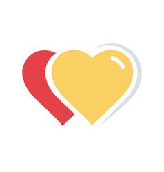 Flat color 2 heart icon vector