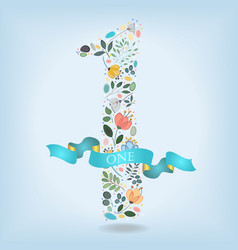 Floral number one with blue ribbon vector