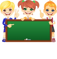 happy schoolchildren with green banner Blackboard vector image