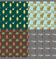 Hiking seamless pattern camping gear hike outdoor vector