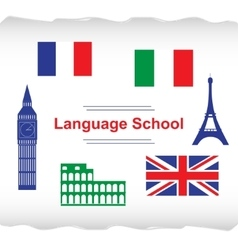 Language school poster banner vector