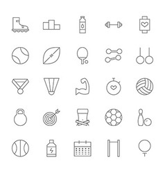 Line Sport and Fitness Big Icons Set vector image