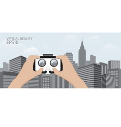 Man hand hold Virtual reality glasses vector image vector image