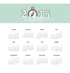 Marine calendar 2015 year with compass vector