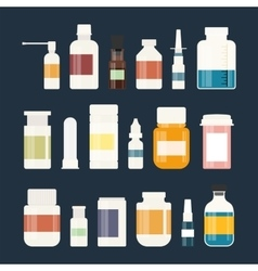 Medicine bottles collection Bottles of drugs vector image vector image