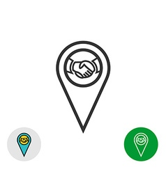 Meeting point logo handshake icon inside a geo map vector