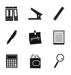 Office tools icon set simple style vector