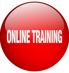 Online training red round gel isolated push button vector