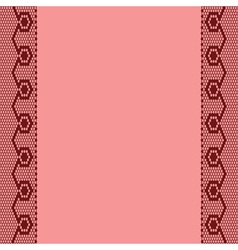 Pink background with two vertical lace ribbons vector