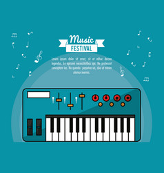 poster music festival in blue background with vector image vector image