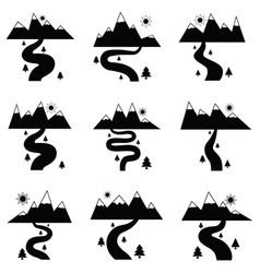 river icon set vector image