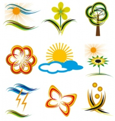 set of elements of nature vector image