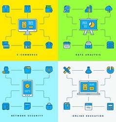 Set of flat conceptual E-commerce Data analysis vector image