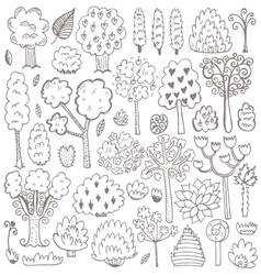 Sketch pattern with trees vector