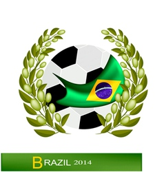 Soccer Ball with Laurel Wreath in Brazil 2014 vector image