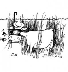 Underwater cow vector